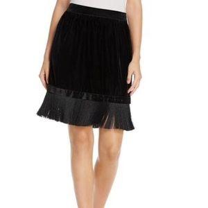 NWT T Tahari Isra Velvet & Fringe Mini Skirt